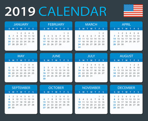 Calendar 2019 - American Version