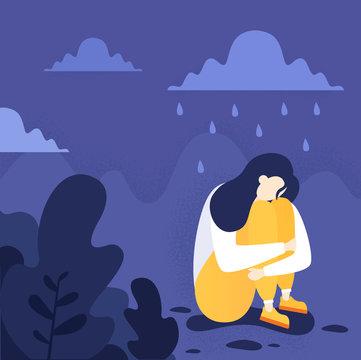 Depressed person sitting