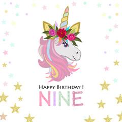Ninth birthday greeting. Nine text. Magical Unicorn Birthday invitation. Party invitation greeting card