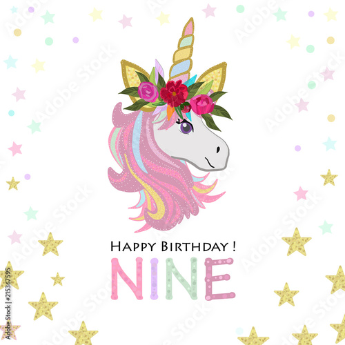 Ninth Birthday Greeting Nine Text Magical Unicorn Invitation Party Card