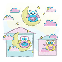 Cartoon Color Vector Illustration Set OWL for Scrapbooking Babybook and Digital Print on Card And Photo Children Album
