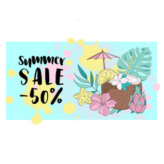 Business Color Vector Illustration SUMMER SALE BANNER Tropical Nature And Paint Background And Design Elements