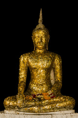 Golden Buddha sitting on the substitute