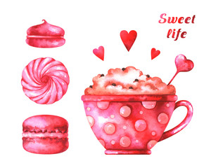 "Hand painted illustration with watercolor macaroons, marshmallows, cup with coffee, red hearts and text ""sweet life"" isolated on white background"