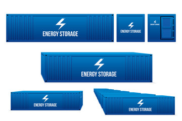 Energy storage. Vector illustration of battery energy stationary concept