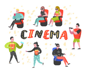 Cartoon People with Popcorn and Soda Watching Movie in the Cinema. Man and Woman Characters in 3d Glasses. Vector illustration