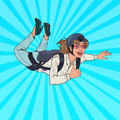 Pop Art Businesswoman Flying with Parachute. Happy Woman Parachutist. Skydiver in the Air. Vector illustration