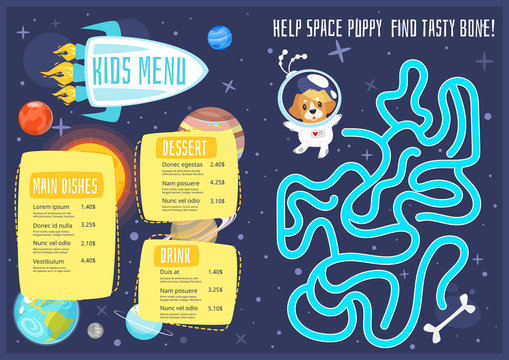 Children menu meal template.