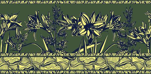 Seamless line horizontal pattern. Monochrome sketch floral pattern.