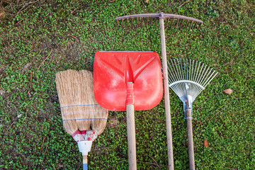 Gardening Tools on Grass. Selective Focus.