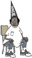Illustration of a black boy sitting on a chair and wearing a dunce cap.