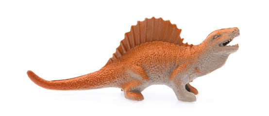 Spinosaurus made out of plastic. dinosaur toy isolated on white background