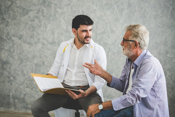 Psychologist doctor discussing with patient