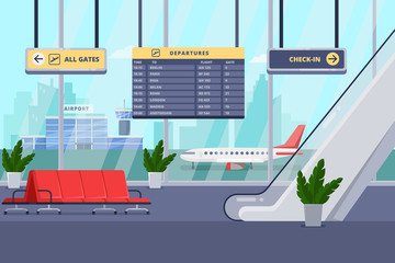 Airport terminal interior, vector flat illustration. Lounge, departure hall with chairs, window, airplane on background.