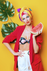 lady with watermelon