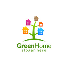 Green Home logo, Real Estate vector logo design with House and ecology shape, isolated on white background