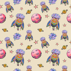 Bohemian style owl in space, seamless pattern, hand drawn