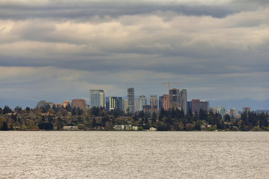 Bellevue WA Skyline along Lake Washington
