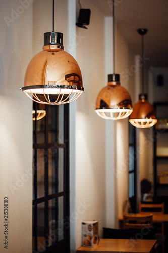 Warm And Vintage Interior Light Coffee Shop Stock Photo And