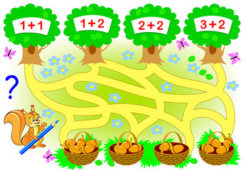 Educational page with mathematical exercises for little children. Where the squirrel need to carry each basket? Count the acorns, solve examples and draw the way. Vector cartoon image.