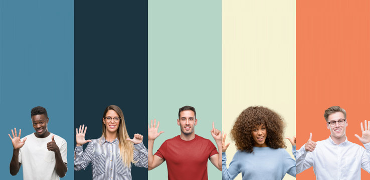 Group of people over vintage colors background showing and pointing up with fingers number six while smiling confident and happy.