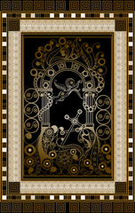 Graphical illustration of a Tarot card 9