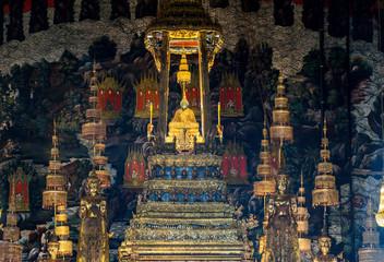 Garden Poster Temple Bangkok, Thailand Nov. 29, 2017 : The Emerald Buddha in the temple of Wat Phra Kaeo at the Grand Palace in Bangkok, Thailand