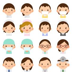 様々な世代の医療関係者 男女 白衣 顔 表情 かわいい フラットアイコン セット