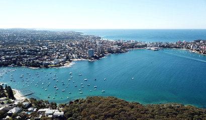 Aerial view of Manly Beach, North Harbour and Tasman sea. View from Tania Park, Dobroyd Head (Sydney, Australia)