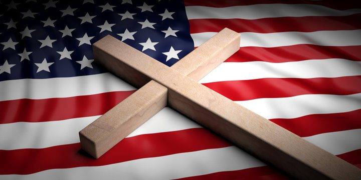 Christian cross on American flag background. 3d illustration