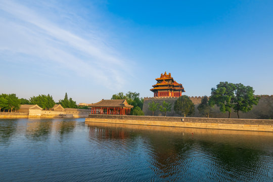 The lake view of Forbidden city which is a palace complex in central Beijing, China.