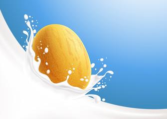 Milk splash and yellow melon