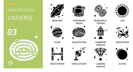 Universe icon pack solid style. Icons for universe,milky way,astronomy moon,moon space station,sun,pollution,solar system,command module,moon rover,space station,satellite dish,landing module,eclip