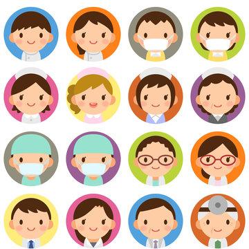 様々な世代の医療関係者 男女 白衣 顔 表情 かわいい フラット丸アイコン セット