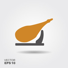 Flat vector icon of jamon - national delicacy of Spain