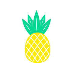 Pineapple. Tropical fruit. Flat vector illustration