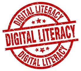 digital literacy round red grunge stamp