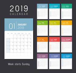 Year 2019 calendar - vector template