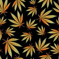 autumn texture for design wallpaper. cannabis leaves on black background. Ganja Marijuana Weed Seamless Pattern