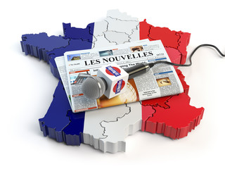 "French news, press and  journalism concept. Microphone and newspaper with headline ""Les nouvelles"" (french for: news)on the map in colors of the flag of France."