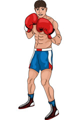 The boxer guy is fighting