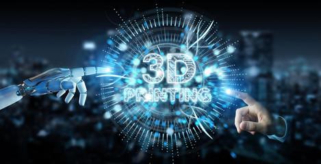 Robot white hand using 3D printing digital hologram 3D rendering