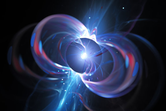 Blue glowing spinning neutron star