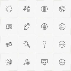 Balls line icon set with football gate, baseball and rugby ball