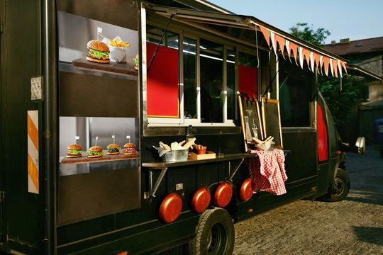 Food Truck Trailer On Street