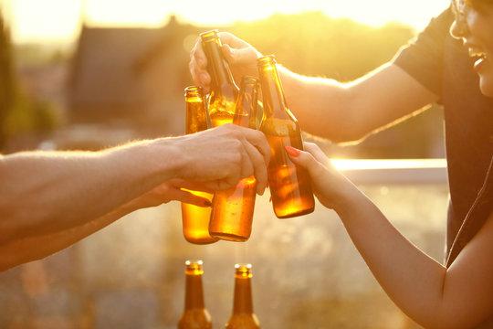 Beer Festival. People Drinking Beer Outdoors
