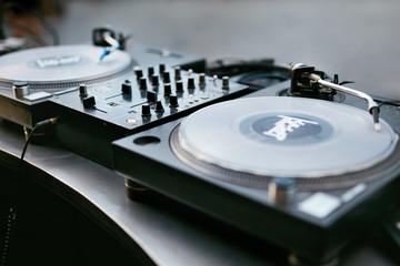 DJ Equipment On Table Closeup