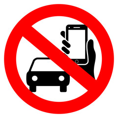No driving and phone using vector sign