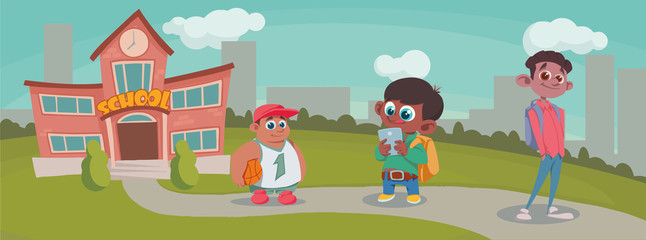 Group Of Pupils boy Mix Race going to school.vector illustration