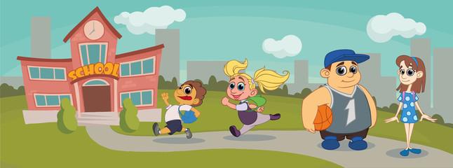 children go to school. vector illustration. cartoon